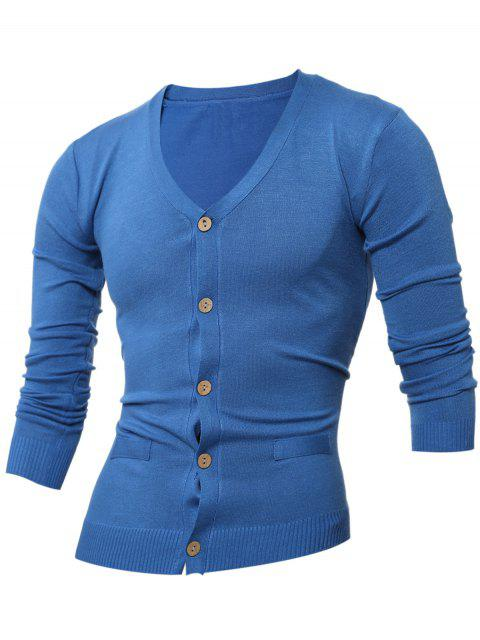 fancy Slimming V Neck Button Up Cardigan - SAPPHIRE BLUE L Mobile