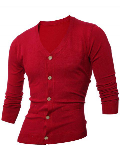 women Slimming V Neck Button Up Cardigan - WINE RED L Mobile