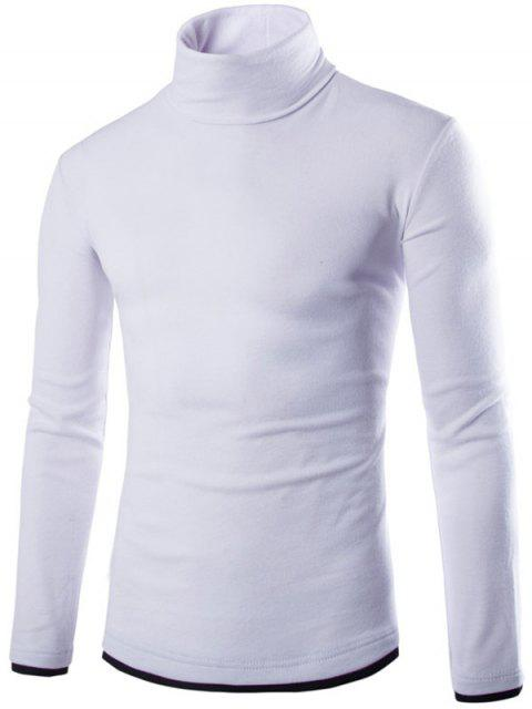 shop Faux Twinset Design High Neck Long Sleeve Knitwear - WHITE M Mobile