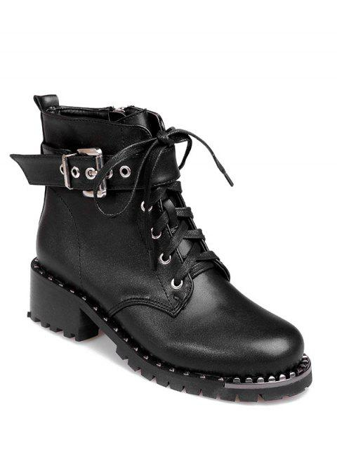 shops Rivets Buckle Strap Tie Up Ankle Boots - BLACK 38 Mobile