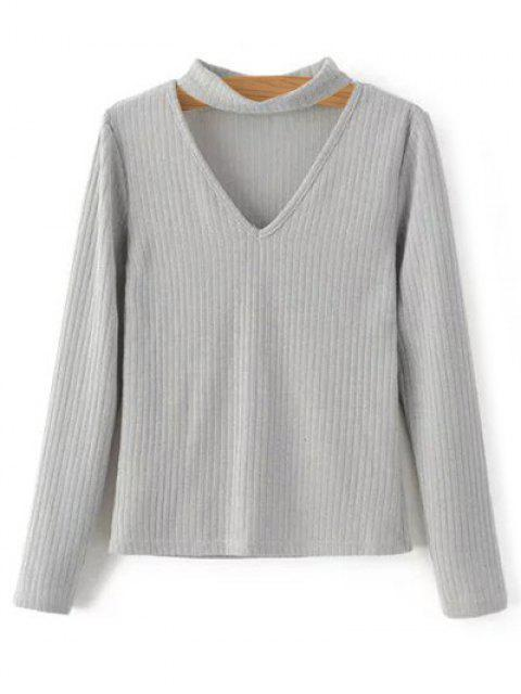 online Cutout V Neck Choker Jumper - GRAY M Mobile