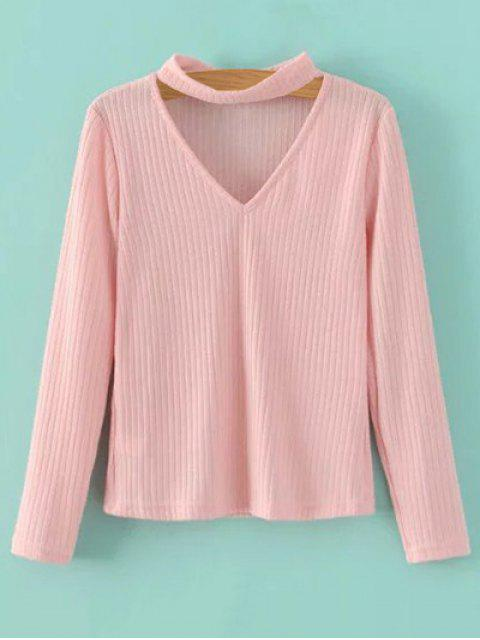 outfits Cutout V Neck Choker Jumper - PINK M Mobile
