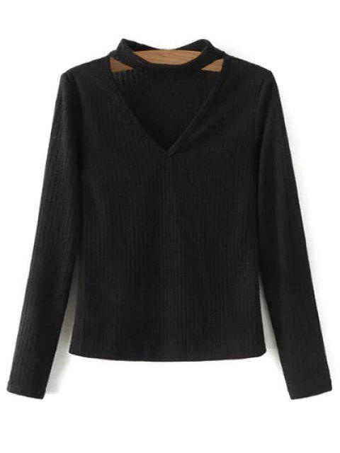 Pull en tricot côtelé à col V - Noir S Mobile