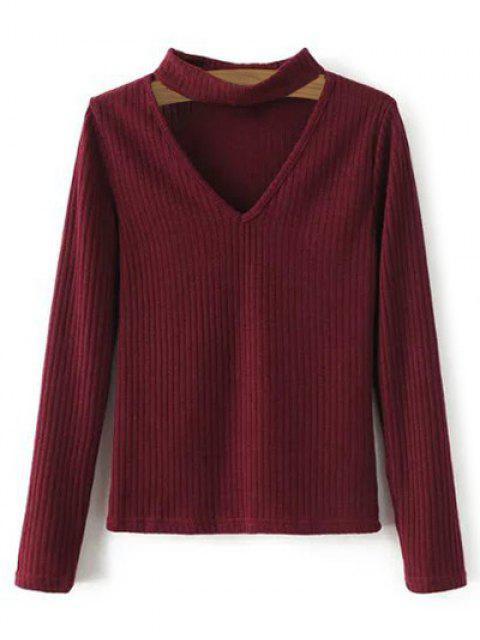 Pull en tricot côtelé à col V - Rouge vineux  S Mobile