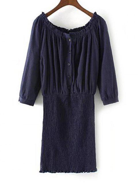 new Off The Shoulder Blouson Dress - PURPLISH BLUE M Mobile