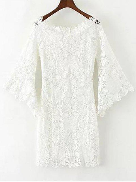 latest Bell Sleeve Crochet Bodycon Dress - WHITE L Mobile