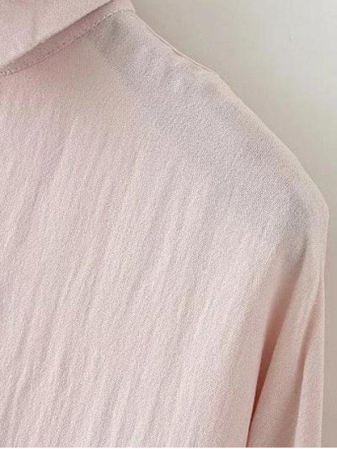 Blouse boutonnée à épaules décontractées - ROSE PÂLE M Mobile