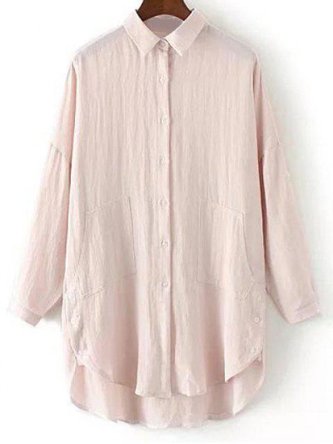 online Linen Blend Button Up Blouse Loose Shirt - PINK M Mobile