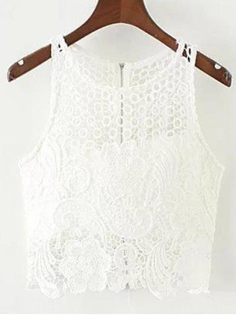 Débardeur Court en Crochet - Blanc L Mobile