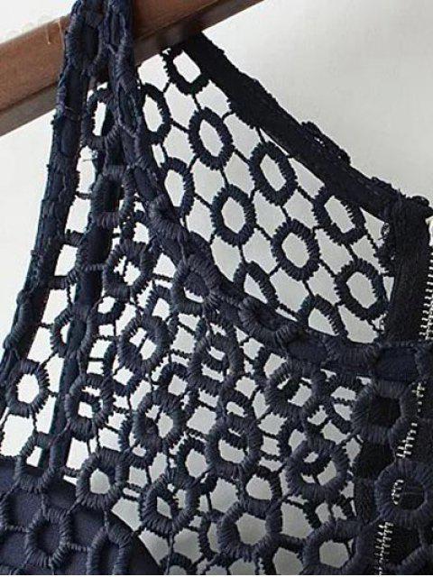 best Crochet Flower Padded Crop Top - PURPLISH BLUE M Mobile