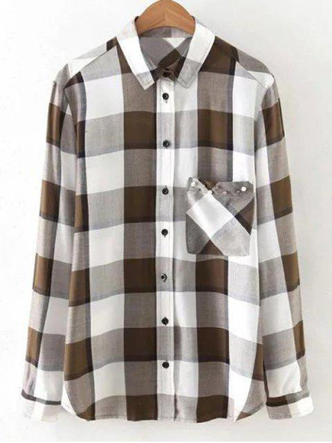 outfits Checked Patch Pocket Shirt - WHITE S Mobile