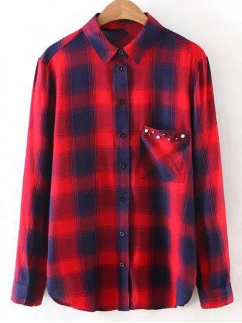 Chemise casual à carreaux orné perles - Rouge M Mobile