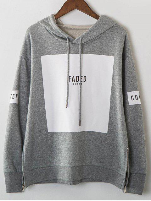 shops Zip Hem Panelled Oversized Hoodie - GRAY ONE SIZE Mobile