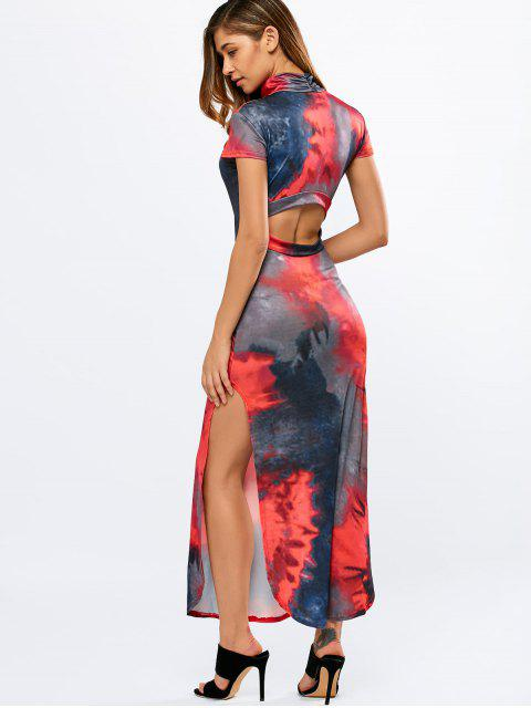 womens Tie-Dyed High Slit Cutout Maxi Dress - RED M Mobile