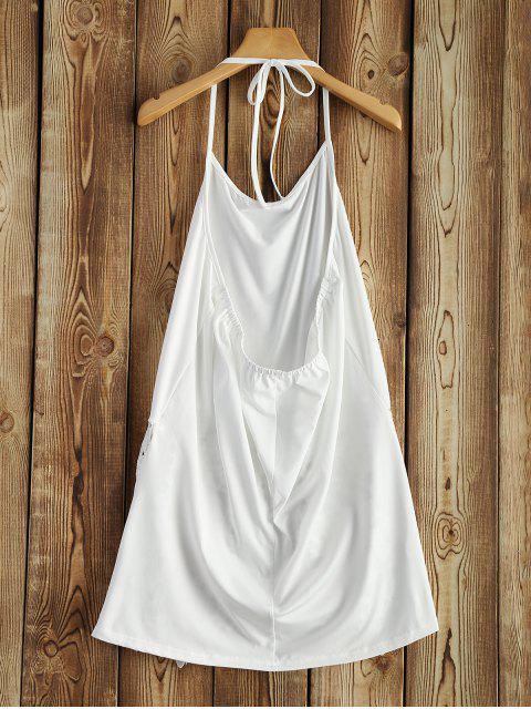 women's Lace Trim Halter Top - WHITE XL Mobile