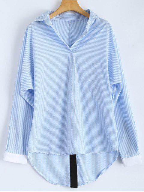 women's Loose Striped Slit Shirt - BLUE AND WHITE S Mobile