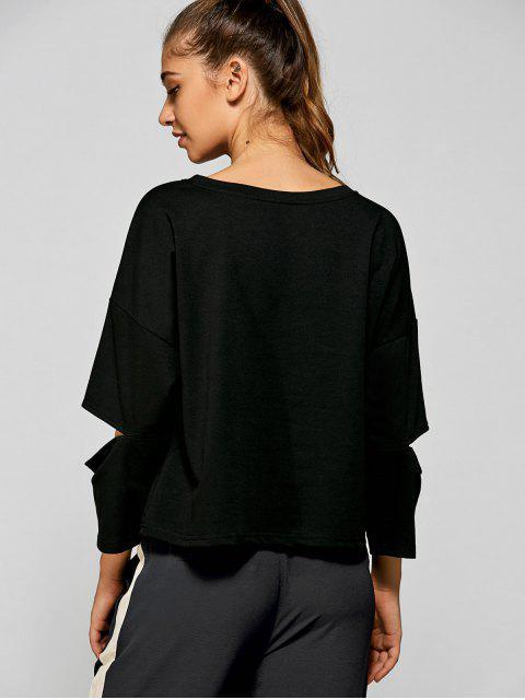 online Split Sleeve FOREVER YOUNG T-Shirt - BLACK S Mobile