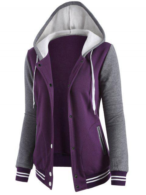 hot Varsity Baseball Fleece Hoodie Jacket - PURPLE XL Mobile