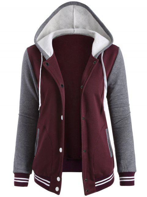 fashion Varsity Baseball Fleece Hoodie Jacket - WINE RED S Mobile