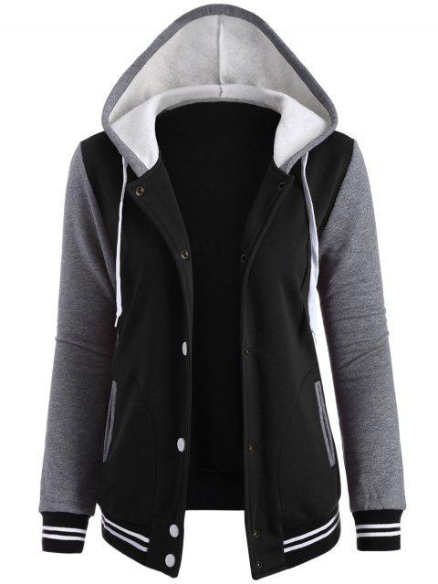 womens Varsity Baseball Fleece Hoodie Jacket - BLACK M Mobile