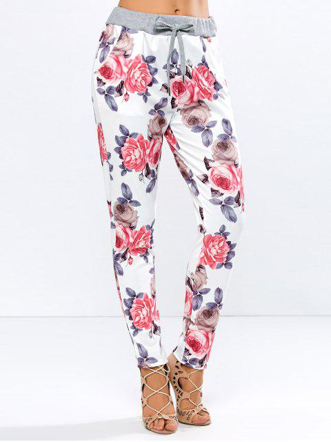 buy Floral Print Drawstring Narrow Feet Pants - FLORAL M Mobile