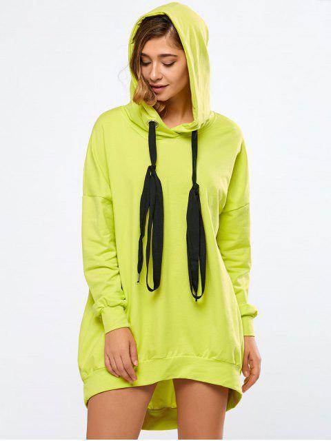 Neon Farbe lange Boyfriend Hoodie - Fluoreszierend Gelb L Mobile