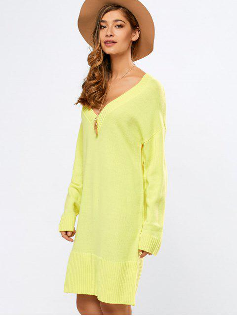 unique V Neck Slit Sweater Dress - YELLOW M Mobile