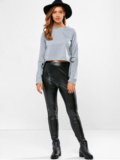 outfits PU Leather Openwork Leggings - BLACK L Mobile