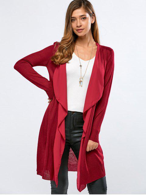 shop Chiffon Spliced Fitting Cardigan - RED L Mobile