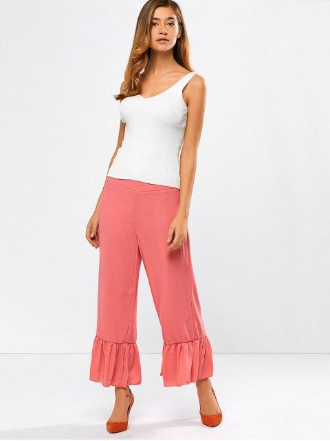 latest Wide Leg High Rise Pants - RED ORANGE L Mobile