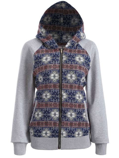 women's Zip Up Jacquard Tribal Hoodie - COLORMIX L Mobile