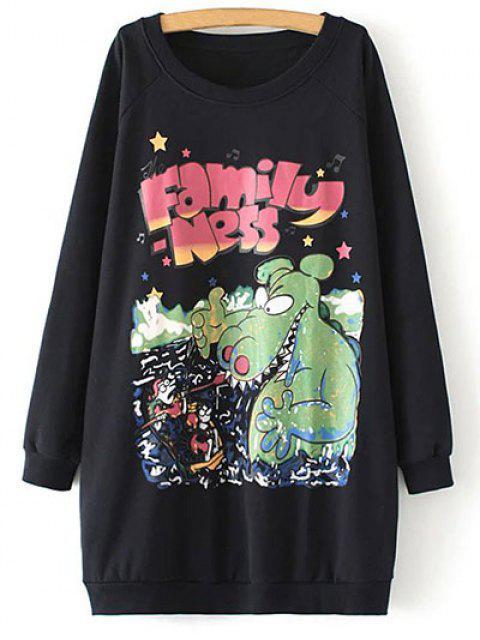 hot Oversized Fleece Long Sweatshirt - BLACK ONE SIZE Mobile