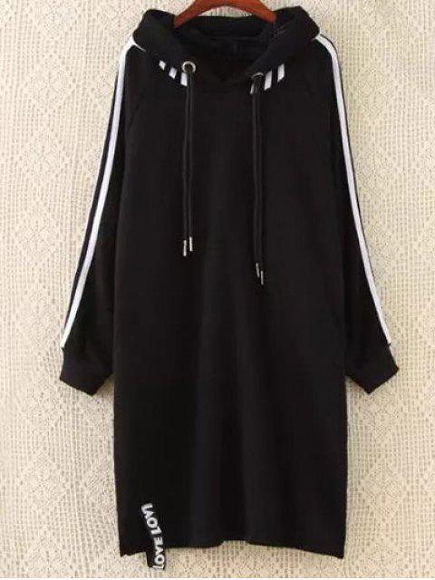 sale Plus Size Tape Sleeve Hoodie Dress - BLACK 3XL Mobile