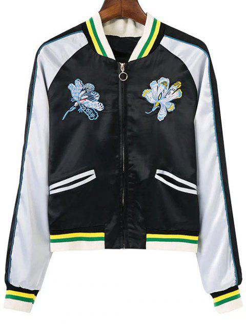 buy Floral Embroidery Souvenir Jacket - WHITE AND BLACK S Mobile