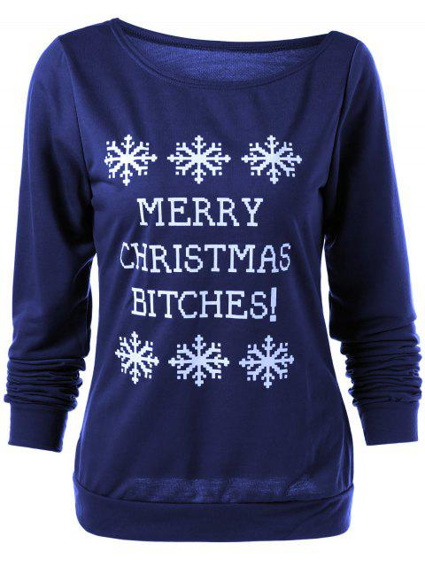 ladies Merry Christmas Snowflake Print Sweatshirt - DEEP BLUE S Mobile