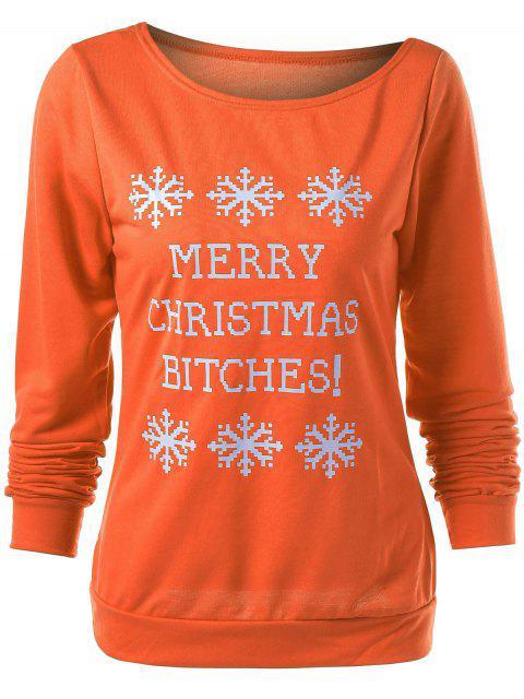 lady Merry Christmas Snowflake Print Sweatshirt - ORANGE XL Mobile