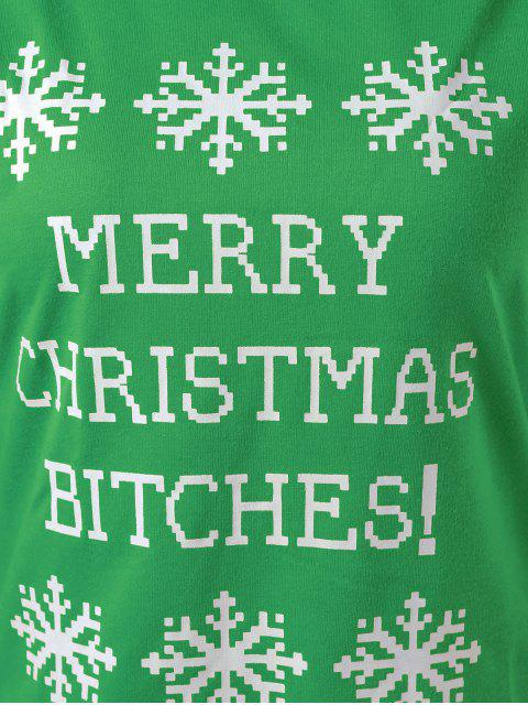 outfits Merry Christmas Snowflake Print Sweatshirt - GREEN M Mobile