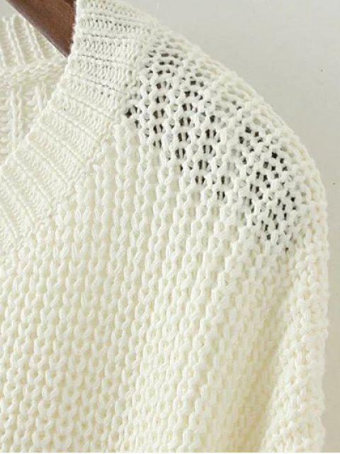 sale Lace Up Hem Open Stitch Sweater - WHITE M Mobile