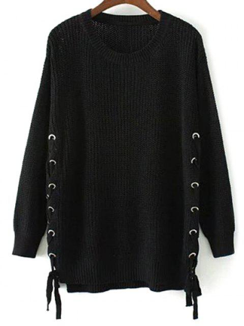 buy Lace Up Hem Open Stitch Sweater - BLACK M Mobile