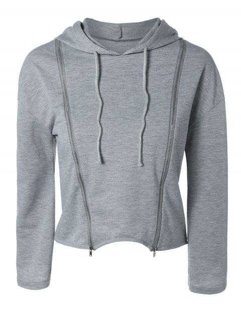 best Zippered Cropped Hoodie - GRAY S Mobile