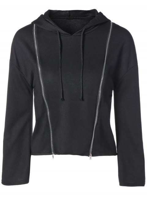outfit Zippered Cropped Hoodie - BLACK S Mobile
