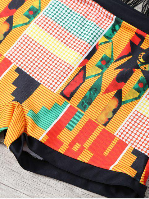 fashion Fringed Printed Cut Out African Print Bathing Suit - MULTICOLOR XL Mobile