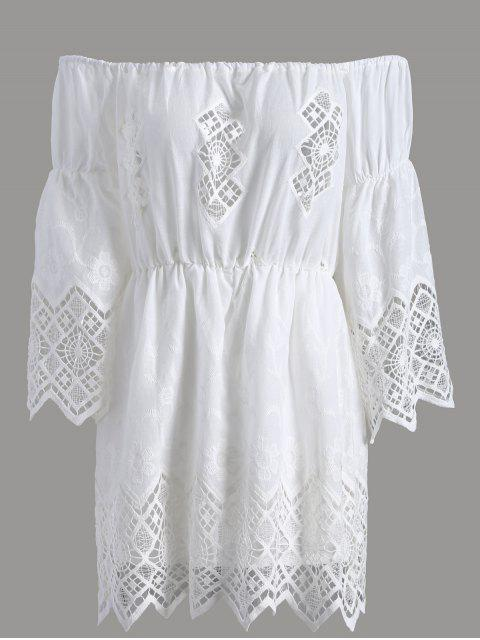 chic Lace Off The Shoulder Romper - WHITE XL Mobile