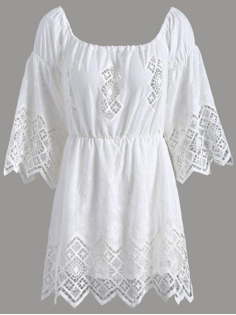 fashion Lace Off The Shoulder Romper - WHITE 2XL Mobile
