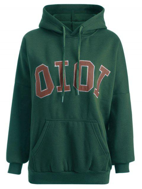 hot Oioi Graphic Hoodie - BLACKISH GREEN ONE SIZE Mobile