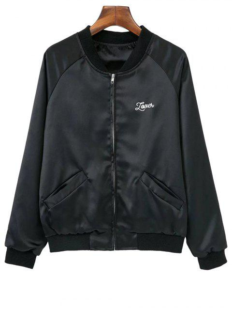 lady Love Heart Embroidered Bomber Jacket - BLACK L Mobile