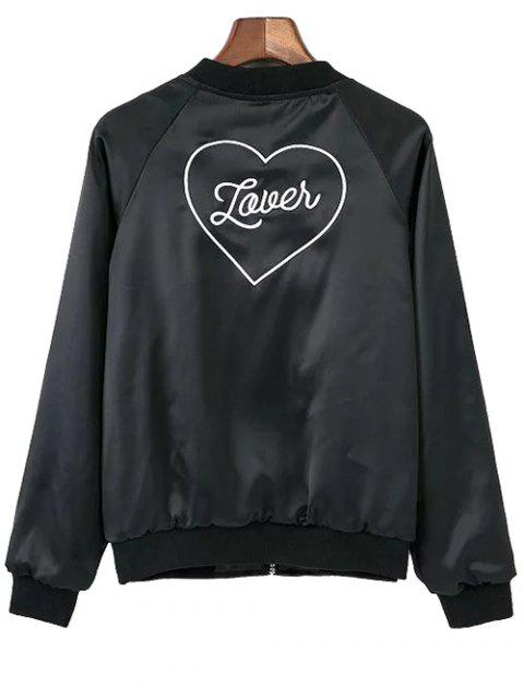 online Love Heart Embroidered Bomber Jacket - BLACK S Mobile