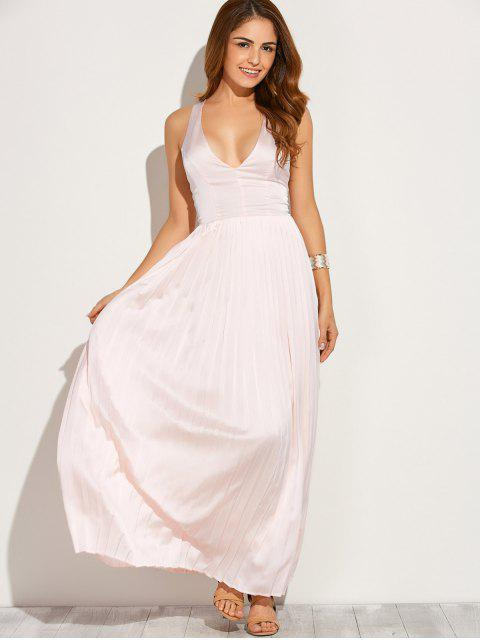 shops Cut Out Low Cut Maxi Long Prom Dresses - PINK L Mobile