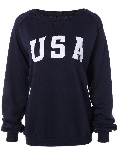 unique Sports Printed Sweatshirt - CADETBLUE S Mobile