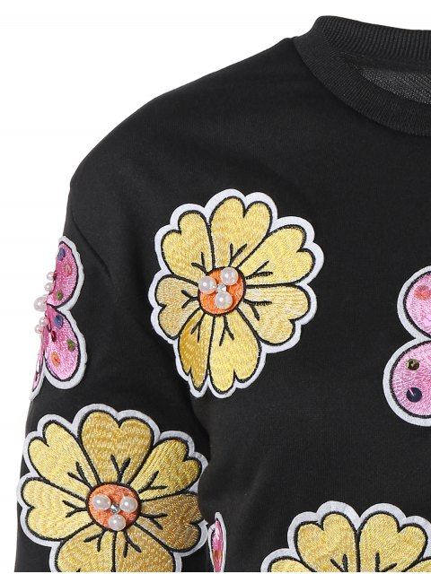 sale Floral Patched Beading Sweatshirt - BLACK ONE SIZE Mobile